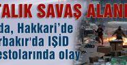 IŞİD protestosu ortalığı savaş alanına çevirdi