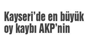 Kayseri'de en büyük oy kaybı...