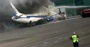 Kazakistan'da yolcu uçağı alev alev yandı