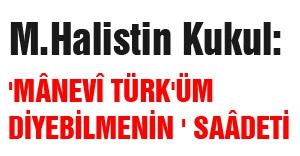 'MÂNEVÎ TÜRK'ÜM DİYEBİLMENİN ' SAÂDETİ