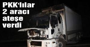 PKK'lılar 2 aracı ateşe verdi