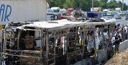 TEM otoyolunda halk otobüsü yandı