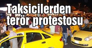 Üsküdar'da taksiciler Terörü Protesto Etti