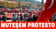 Yozğat'ta  Muhteşem Türk Bayraklı Protesto Yürüyüşü