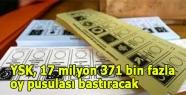 YSK, 17 milyon 371 bin fazla oy pusulası bastıracak
