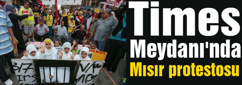 Times Meydanı'nda Mısır protestosu