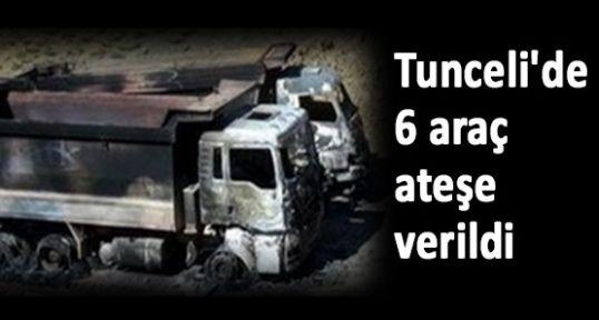 Tunceli'de 6 araç ateşe verildi
