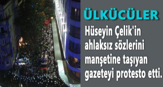 """Ülkücüler HABERTURK""""u Binası Önünde Protesto Etti..."""